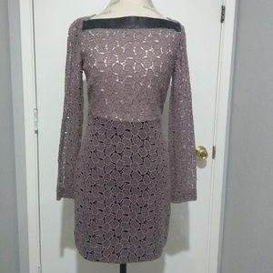 DVF-Taupe Sarita Leather Pebble dress